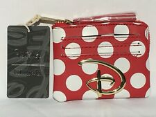 """Loungefly Disney Red & White Polka Dot """"D"""" Logo Zip Coin Purse/Cardholder Nwt"""