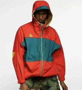 Nike Men's NSW ACG Anorak Hood Jacket AQ2294-634 Habanero Red/Teal/Beige SMALL