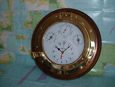 Ships Porthole Brass and Wooden Wall Mounted Weatherman 4 in 1 Weather Station