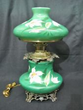 """Antique GONE WITH THE WIND Green/White LILY Electrified Kerosene Oil Lamp, 22"""""""