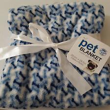 "28"" Pet Blanket Plush Fleece with Blue and White Bones Puppy Dog"