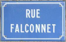 Old blue French enamel street sign plaque road name plate Falconnet Avion Lens