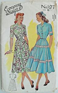 "ORIGINAL 36"" Vintage 1940's Roll Collar Dress Sewing Pattern Economy Design 197"