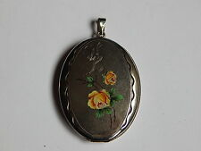 LARGE ANTIQUE GERMAN SILVER PICTURE LOCKET W ENAMELED YELLOW ROSES ENGRAVED WB