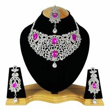 Zerconia Designer Wedding Bridal SIlver Plated AD Necklace Earrings Tikka Set --