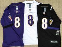 Lamar Jackson #8 Baltimore Ravens Black/White/Purple On Field Game Sewn Jersey