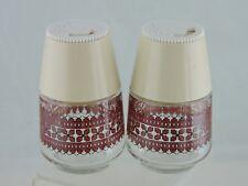 VINTAGE PLASTIC & GLASS RUSSIAN/UKRAINIAN FOLK DESIGN SALT PEPPER SHAKERS