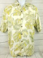 Tommy Bahama Mens Tropical Palm Leaf Silk Hawaiian Camp Shirt Size Large