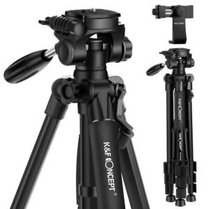K&F Concept TM2324L 56inch Compact Camera Tripod with 3-Way Pan Tilt Head Black