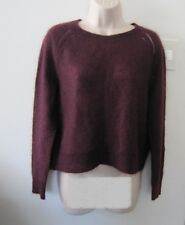 NWOT BANANA REPUBLIC Mohair Wool Burgundy Pointelle Cropped Sweater Size P / L