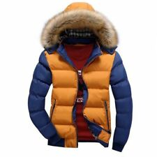Mens Fur Collar Down Cotton Jacket Winter Warm Hooded Thicken Coat Padded Jacket