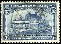 Canada #99 used F-VF 1908 Quebec 5c blue Champlain's Habitation SON CDS CV$67.50