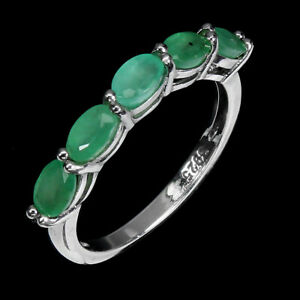 Unheated Oval Emerald 5x3mm 14K White Gold Plate 925 Sterling Silver Ring Size 7