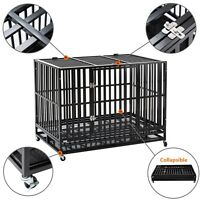"37""/42""/48"" Heavy Duty Metal Dog Crate Cage Square Tube Pet Kennel Collapsible"
