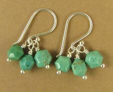 Turquoise cluster earrings. 3 stones. Sterling silver hooks. Handmade.