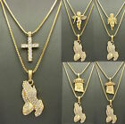 MENS ICED OUT GOLD JESUS PRAYING HAND MICRO ANGEL PENDANT BOX CHAIN NECKLACE SET