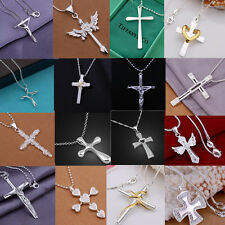 wholesale solid 925silver jewellery cross pendant chain necklace