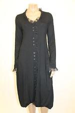 $350 ESCALADYA European Jersey Mesh Stylish Balloon Buttoned Long Dress Black 2