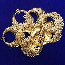 2Pcs Carved Tibetan Gold Round Flower Pendant Bead 38x3mm LL717-29