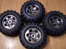 4 HPI Savage X 4.6 GT2 Tires & Warlock Black Chrome 17mm Wheels XL Flux 5.9