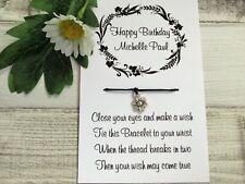 Personalised Birthday Wish Bracelet Friendship Gift Card Custom Name Jewellery