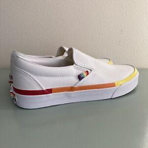 Vans Classic Slip On Rainbow Foxing White Canvas Pride Women's Size 9 New