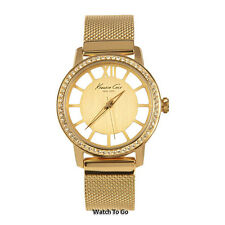 NEW KENNETH COLE WATCH for Women * Transparant Dial and Gold Bracelet * KC4956