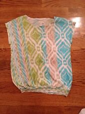 Chico's Green Blue Top Blouse Sexy 0 = Small S designer brand