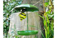 METAL GREEN HANGING UMBRELLA GARDEN BIRD FEEDER WITH BUMBLE BEE