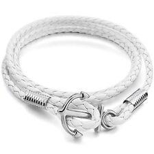 MENDINO Men's Leather Bracelet Handmade Woven Braided Anchor Warp Cord White