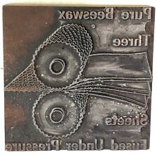 Antique c1915 Wood Block Copper Engraving Stamp Pure Beeswax Advertisement Block