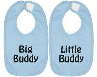 2-SET Infant Baby Bib Cotton Hook & Loop Closure Gift Big Buddy Little Buddy