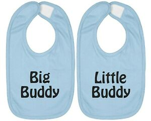 2-SET Infant Baby Bib Cotton Hook & Loop Closure Gift Big Buddy Little Buddy