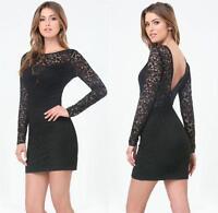 BEBE BLACK ELLIE LACE DEEP V BACK DRESS NWT NEW $129 XSMALL XS