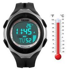 Thermometer Stop Light Waterproof Date Alarm Digital LED Sport Wrist Watch LH