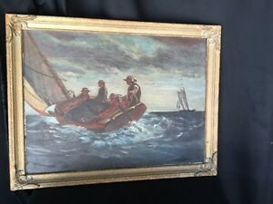 Oil On Canvas Painting Maritime Sailing