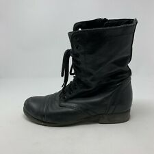 Steve Madden Troopa Black Leather Zip Lace Combat Fashion Boots Size 8.5 M