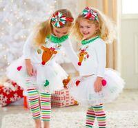 GIRLS REINDEER CHRISTMAS OUTFIT Set, Tutu Skirt Leggins Top, FESTIVE Gift CUTE