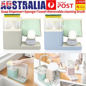Soap Pump Dispenser Sponge Holder Kitchen Sink Rack Dish Washing Cleaning Tool