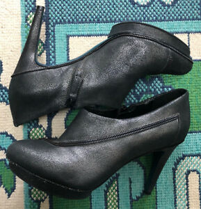 Maria Sharapova by Cole Haan Ankle Boot 8.5 Black Leather Stiletto Booties Heels
