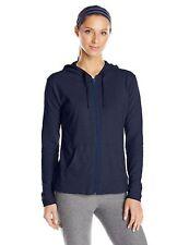 Hanes Women's Jersey Full Zip Hoodie, Navy, Size Medium