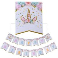 Unicorn Boy Girl First Birthday Party Banner Hanging Bunting Party Paper Decor
