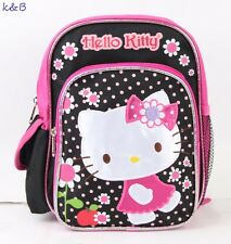 Hello Kitty Flower Small Backpack 10''  Boys Bag Kids School Book Bag - Black
