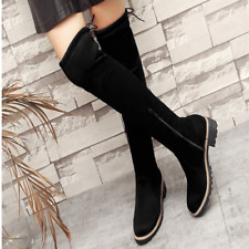 Kids Girls Korean Suede Leather Over Knee High Boots Slim Stretch Casual Shoes W