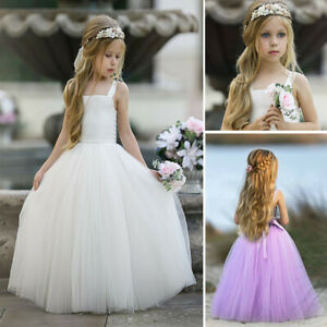 Kids Girls Floral Princess Bridesmaid Dress Pageant Gown Birthday Wedding Dress