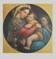 Raffael Madonna della Sedia Kunstdruck Bild echter Lichtdruck 90x85cm goldfarben