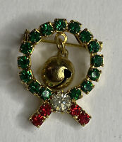 Vintage Gold Tone & Rhinestone Wreath Pin Bell & Bow Holiday / Christmas Brooch