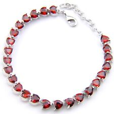 Handmade Jewelry Love Heart Natural Fire Red Garnet Gems Silver Charm Bracelets