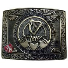 Men's Traditional Claddagh Kilt Belt Buckle Antique/Irish Harp Belt Buckles