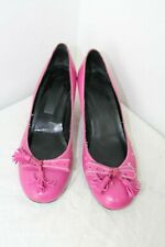 Pink ladies leather kitten heel shoes size 4 Eur 36C